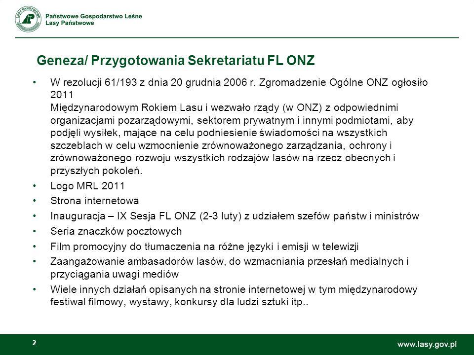 13 Koncepcja obchodów Międzynarodowego Roku Lasów w Polsce Media Kontynuacja cyklu Las bliżej nas będzie to nasz własny dziennik, w którym będziemy relacjonowali m.in.