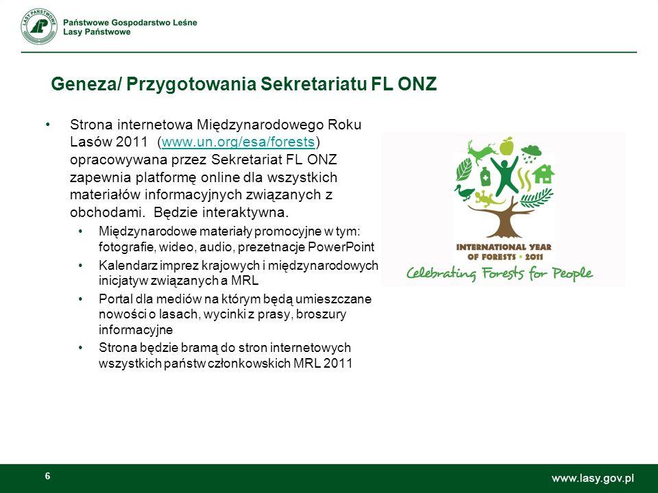 6 Geneza/ Przygotowania Sekretariatu FL ONZ Strona internetowa Międzynarodowego Roku Lasów 2011 (www.un.org/esa/forests) opracowywana przez Sekretaria