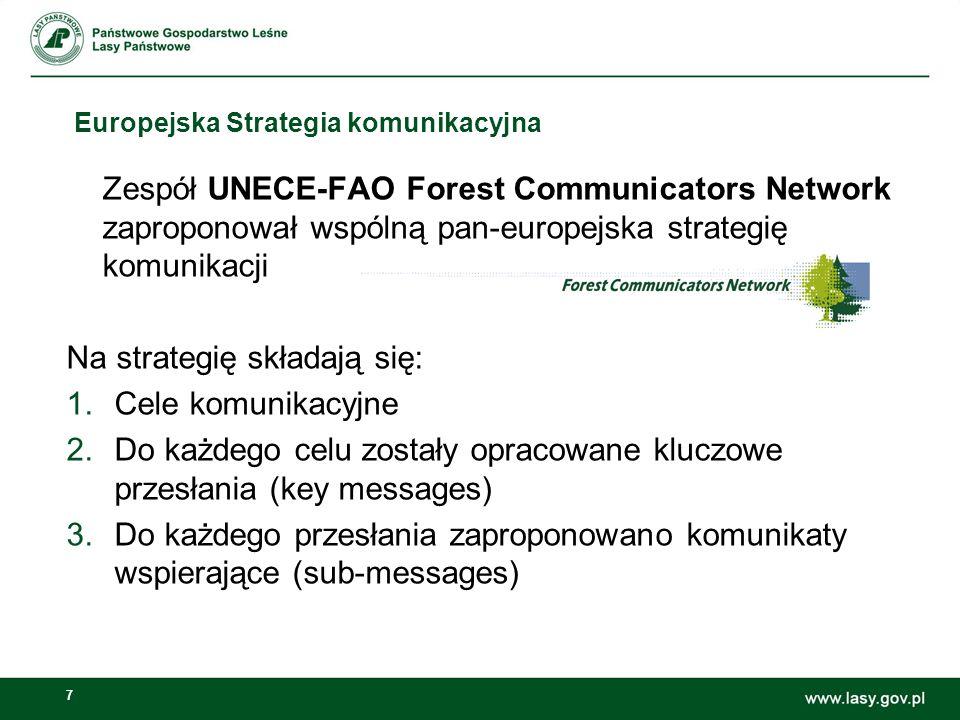 7 Europejska Strategia komunikacyjna Zespół UNECE-FAO Forest Communicators Network zaproponował wspólną pan-europejska strategię komunikacji Na strategię składają się: 1.Cele komunikacyjne 2.Do każdego celu zostały opracowane kluczowe przesłania (key messages) 3.Do każdego przesłania zaproponowano komunikaty wspierające (sub-messages)