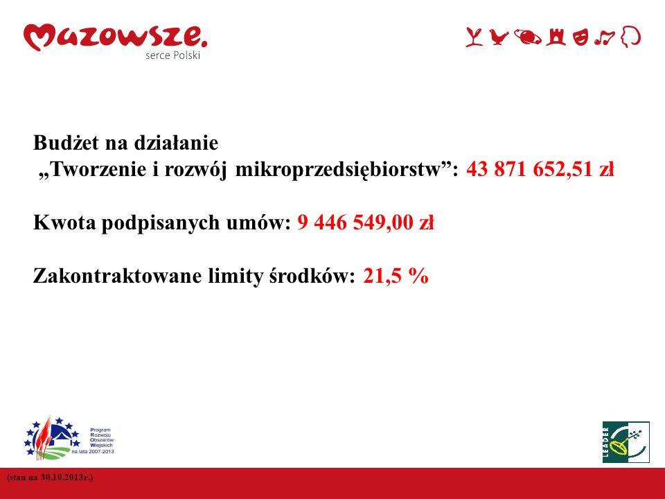 (stan na 30.10.2013r.) Budżet na działanie Tworzenie i rozwój mikroprzedsiębiorstw: 43 871 652,51 zł Kwota podpisanych umów: 9 446 549,00 zł Zakontrak