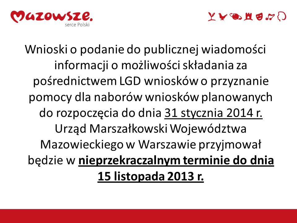 Wnioski o podanie do publicznej wiadomości informacji o możliwości składania za pośrednictwem LGD wniosków o przyznanie pomocy dla naborów wniosków pl