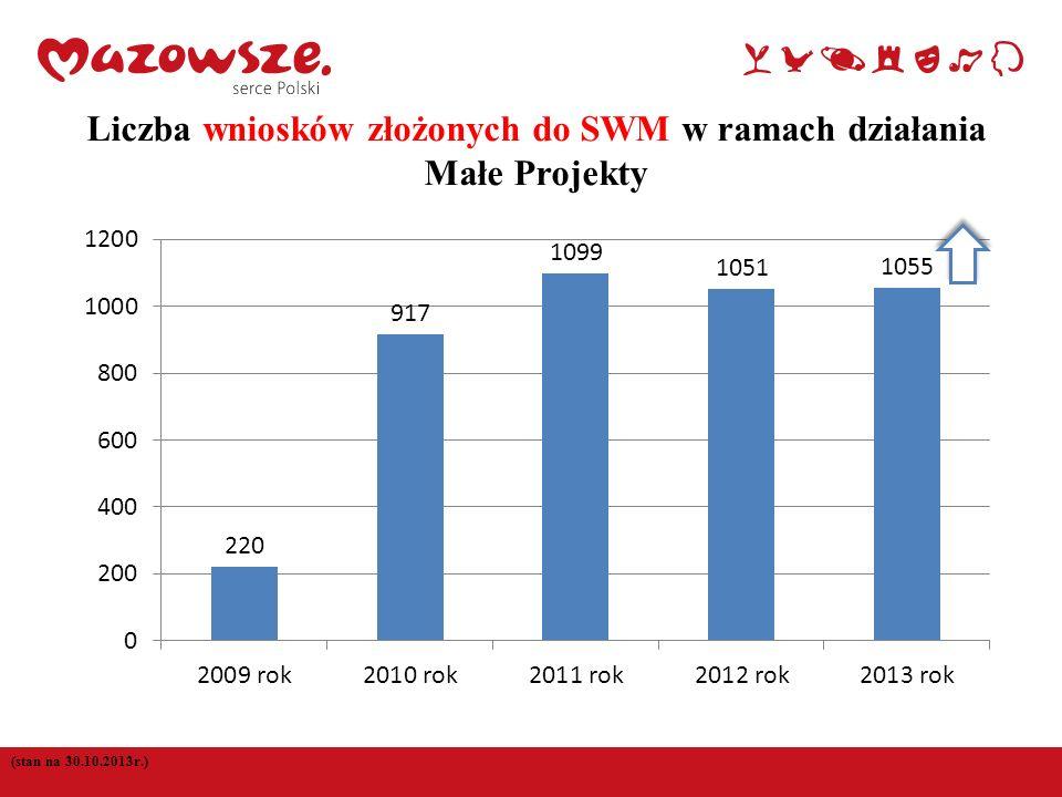 3 (stan na 30.10.2013r.) Liczba wniosków złożonych do SWM w ramach działania Małe Projekty