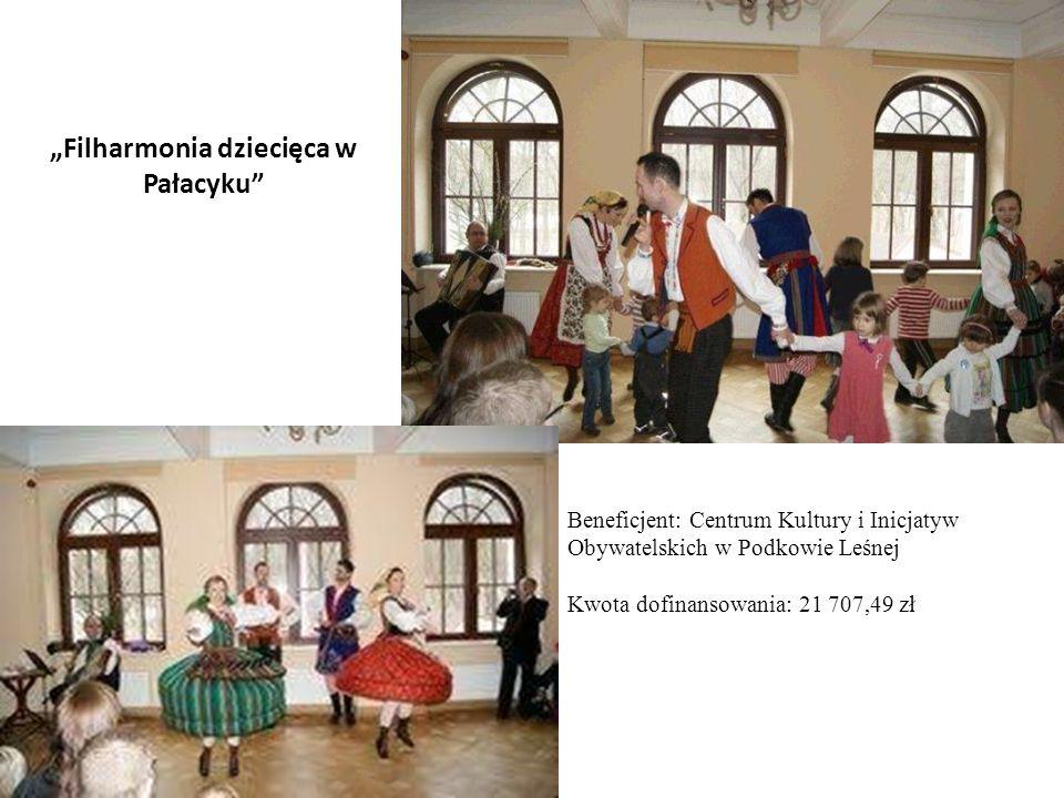 Beneficjent: Centrum Kultury i Inicjatyw Obywatelskich w Podkowie Leśnej Kwota dofinansowania: 21 707,49 zł Filharmonia dziecięca w Pałacyku