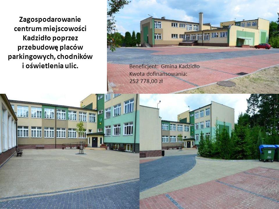 Beneficjent: Gmina Kadzidło Kwota dofinansowania: 252 778,00 zł Zagospodarowanie centrum miejscowości Kadzidło poprzez przebudowę placów parkingowych,
