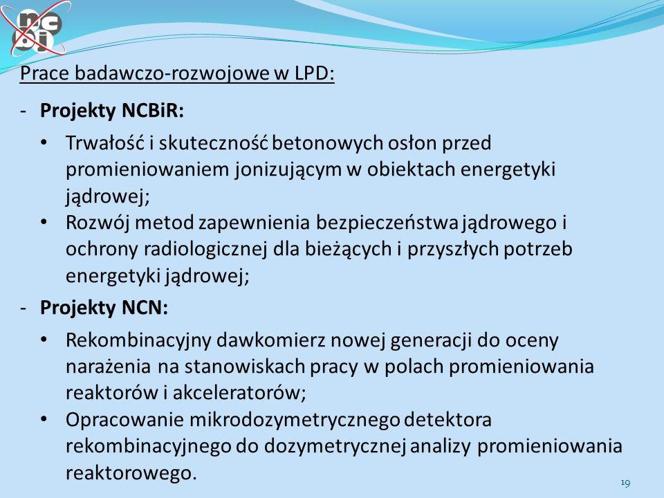 19 Prace badawczo-rozwojowe w LPD: - Projekty NCBiR: Trwałość i skuteczność betonowych osłon przed promieniowaniem jonizującym w obiektach energetyki jądrowej; Rozwój metod zapewnienia bezpieczeństwa jądrowego i ochrony radiologicznej dla bieżących i przyszłych potrzeb energetyki jądrowej; - Projekty NCN: Rekombinacyjny dawkomierz nowej generacji do oceny narażenia na stanowiskach pracy w polach promieniowania reaktorów i akceleratorów; Opracowanie mikrodozymetrycznego detektora rekombinacyjnego do dozymetrycznej analizy promieniowania reaktorowego.
