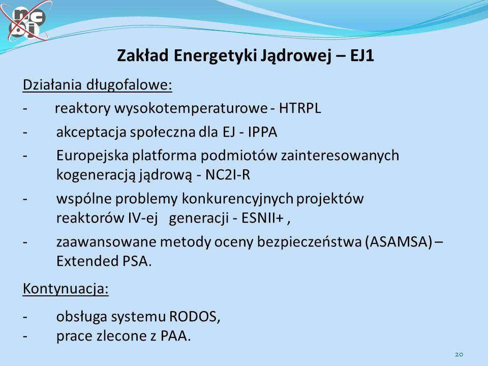 20 Zakład Energetyki Jądrowej – EJ1 Działania długofalowe: - reaktory wysokotemperaturowe - HTRPL - akceptacja społeczna dla EJ - IPPA - Europejska platforma podmiotów zainteresowanych kogeneracją jądrową - NC2I-R - wspólne problemy konkurencyjnych projektów reaktorów IV-ej generacji - ESNII+, - zaawansowane metody oceny bezpieczeństwa (ASAMSA) – Extended PSA.
