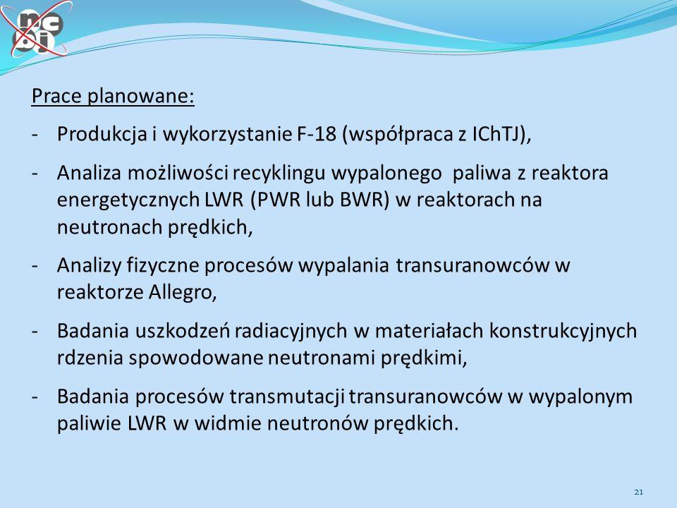 21 Prace planowane: -Produkcja i wykorzystanie F-18 (współpraca z IChTJ), -Analiza możliwości recyklingu wypalonego paliwa z reaktora energetycznych LWR (PWR lub BWR) w reaktorach na neutronach prędkich, -Analizy fizyczne procesów wypalania transuranowców w reaktorze Allegro, -Badania uszkodzeń radiacyjnych w materiałach konstrukcyjnych rdzenia spowodowane neutronami prędkimi, -Badania procesów transmutacji transuranowców w wypalonym paliwie LWR w widmie neutronów prędkich.