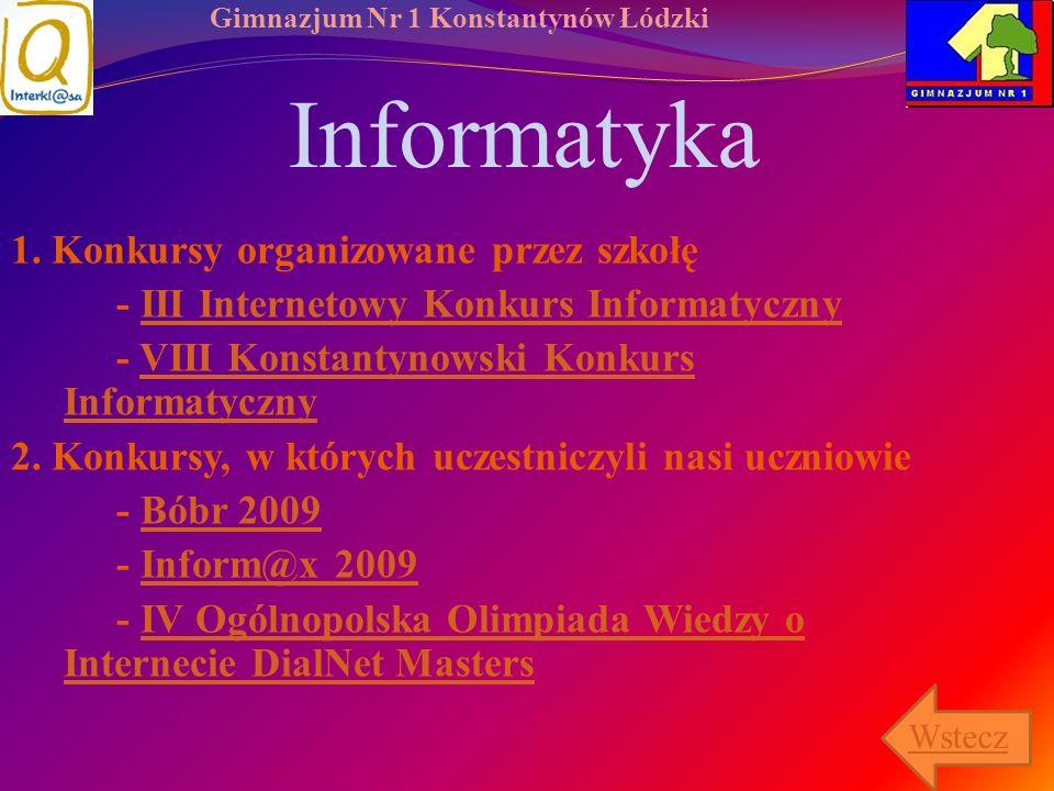 Gimnazjum Nr 1 Konstantynów Łódzki Informatyka 1. Konkursy organizowane przez szkołę - III Internetowy Konkurs InformatycznyIII Internetowy Konkurs In