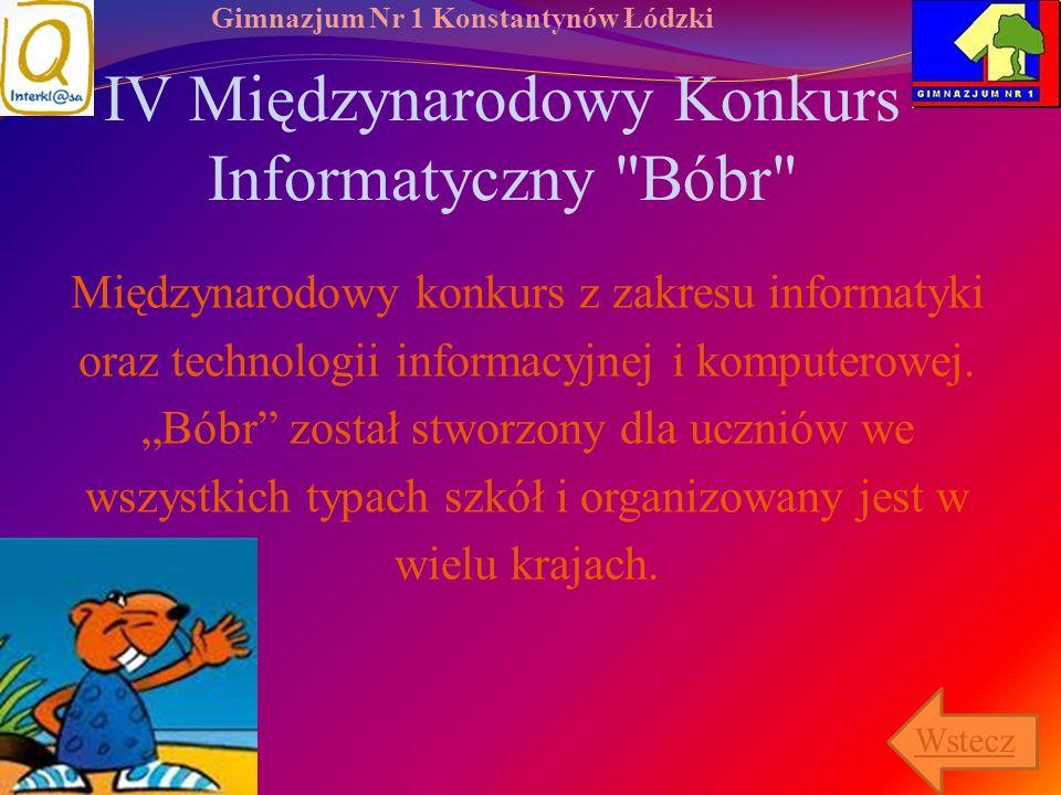 Gimnazjum Nr 1 Konstantynów Łódzki IV Międzynarodowy Konkurs Informatyczny