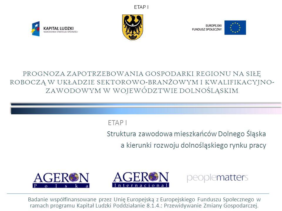 ETAP I Struktura zawodowa mieszkańców Dolnego Śląska a kierunki rozwoju dolnośląskiego rynku pracy PROGNOZA ZAPOTRZEBOWANIA GOSPODARKI REGIONU NA SIŁ