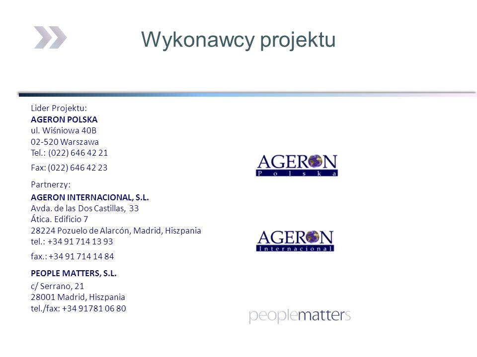 Lider Projektu: AGERON POLSKA ul. Wiśniowa 40B 02-520 Warszawa Tel.: (022) 646 42 21 Fax: (022) 646 42 23 Partnerzy: AGERON INTERNACIONAL, S.L. Avda.