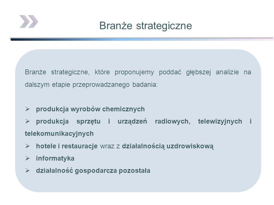 Branże strategiczne Branże strategiczne, które proponujemy poddać głębszej analizie na dalszym etapie przeprowadzanego badania: produkcja wyrobów chem