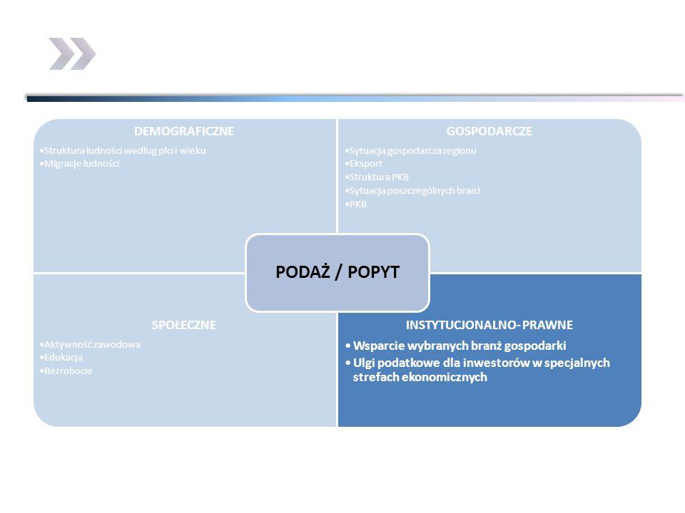 DEMOGRAFICZNE Struktura ludności według płci i wieku Migracje ludności GOSPODARCZE Sytuacja gospodarcza regionu Eksport Struktura PKB Sytuacja poszcze