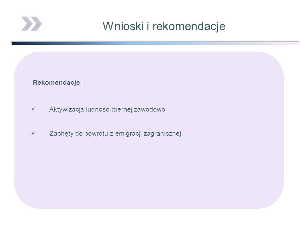 Rekomendacje: Aktywizacja ludności biernej zawodowo. Zachęty do powrotu z emigracji zagranicznej Wnioski i rekomendacje