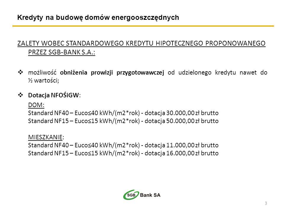 Kredyty na budowę domów energooszczędnych ZALETY WOBEC STANDARDOWEGO KREDYTU HIPOTECZNEGO PROPONOWANEGO PRZEZ SGB-BANK S.A.: możliwość obniżenia prowi