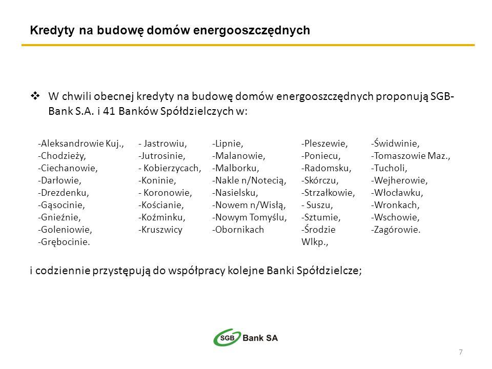 W chwili obecnej kredyty na budowę domów energooszczędnych proponują SGB- Bank S.A. i 41 Banków Spółdzielczych w: i codziennie przystępują do współpra