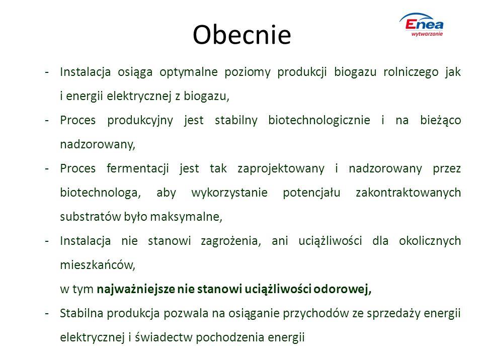 Obecnie -Instalacja osiąga optymalne poziomy produkcji biogazu rolniczego jak i energii elektrycznej z biogazu, -Proces produkcyjny jest stabilny biot