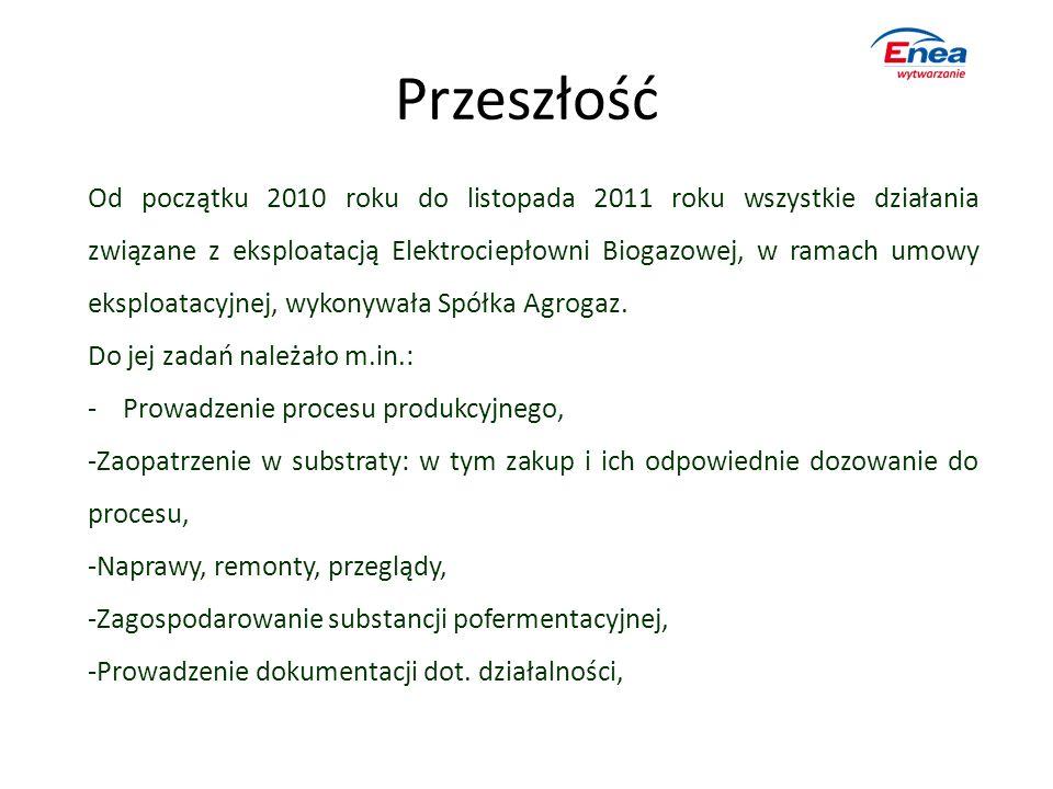 Przeszłość Od początku 2010 roku do listopada 2011 roku wszystkie działania związane z eksploatacją Elektrociepłowni Biogazowej, w ramach umowy eksplo