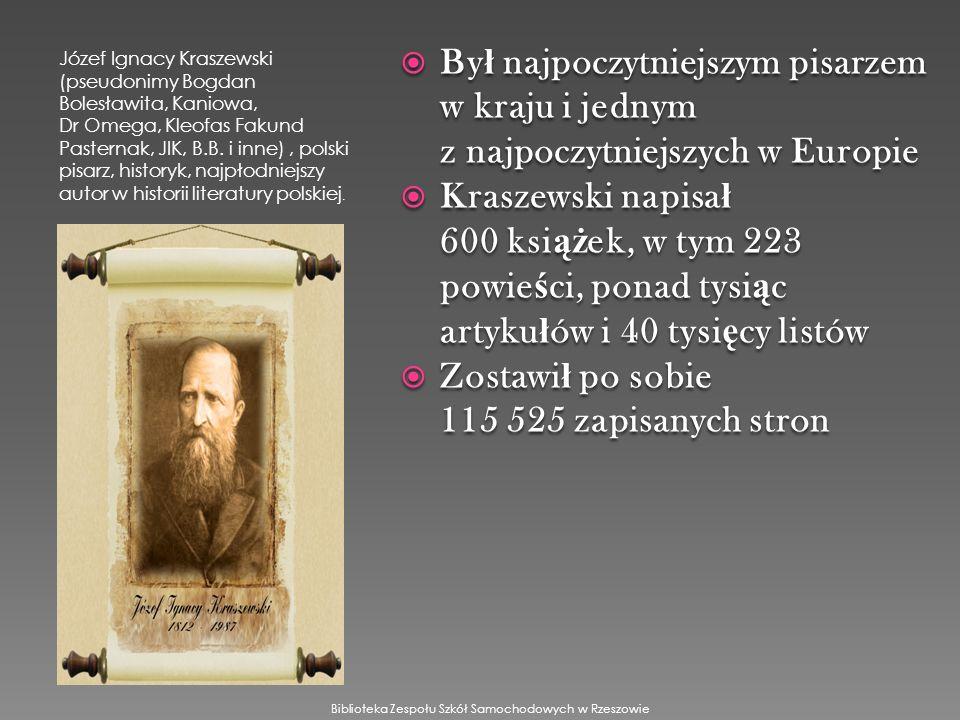 Józef Ignacy Kraszewski (pseudonimy Bogdan Bolesławita, Kaniowa, Dr Omega, Kleofas Fakund Pasternak, JIK, B.B.