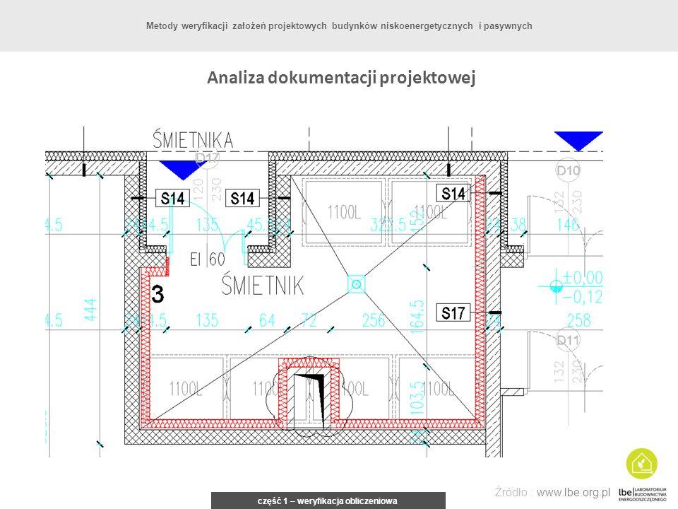 część 1 – weryfikacja obliczeniowa Źródło : www.lbe.org.pl Metody weryfikacji założeń projektowych budynków niskoenergetycznych i pasywnych Analiza do