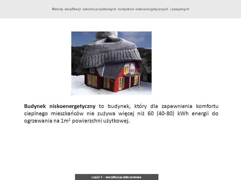 część 1 – weryfikacja obliczeniowa Metody weryfikacji założeń projektowych budynków niskoenergetycznych i pasywnych Budynek niskoenergetyczny to budyn