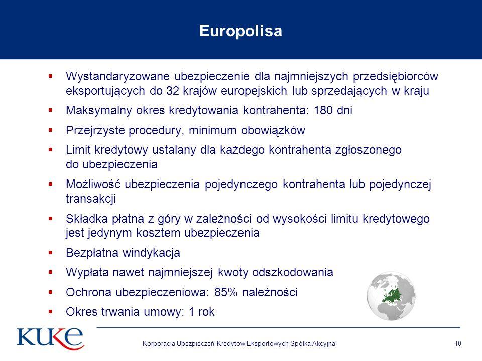 Korporacja Ubezpieczeń Kredytów Eksportowych Spółka Akcyjna10 Europolisa Wystandaryzowane ubezpieczenie dla najmniejszych przedsiębiorców eksportujący