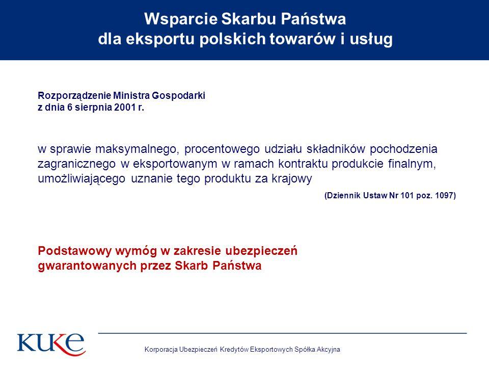 Korporacja Ubezpieczeń Kredytów Eksportowych Spółka Akcyjna Rozporządzenie Ministra Gospodarki z dnia 6 sierpnia 2001 r. w sprawie maksymalnego, proce