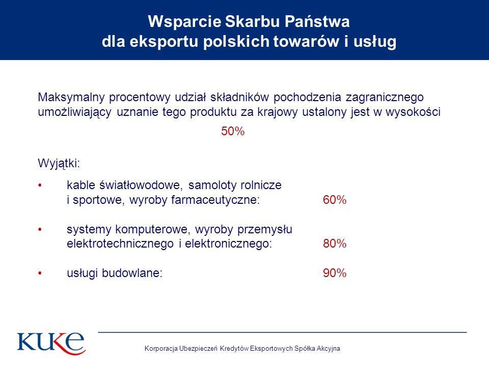 Korporacja Ubezpieczeń Kredytów Eksportowych Spółka Akcyjna Maksymalny procentowy udział składników pochodzenia zagranicznego umożliwiający uznanie te