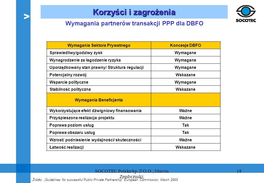 18 Korzyści i zagrożenia Źródło Guidelines for successful Public Private Partnership European Commission; March 2003 Wymagania partnerów transakcji PP