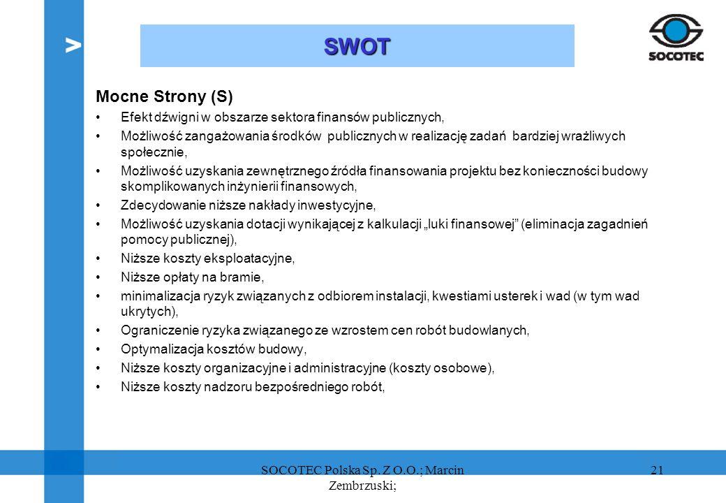 21 SWOT Mocne Strony (S) Efekt dźwigni w obszarze sektora finansów publicznych, Możliwość zangażowania środków publicznych w realizację zadań bardziej