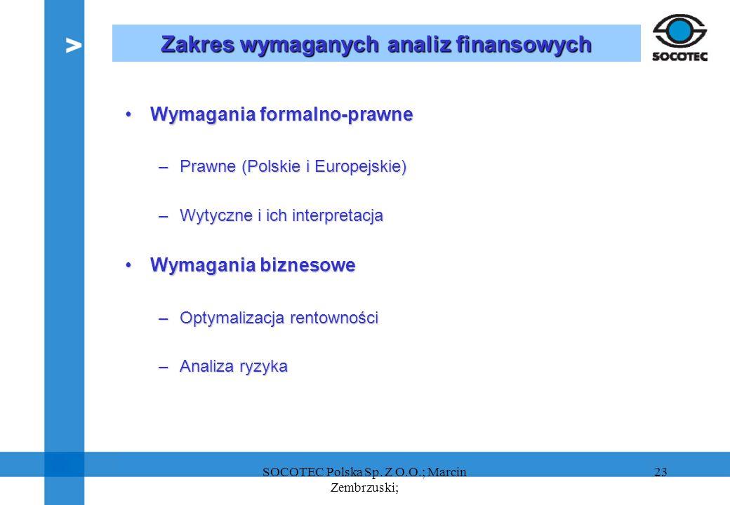 23 Zakres wymaganych analiz finansowych Wymagania formalno-prawneWymagania formalno-prawne –Prawne (Polskie i Europejskie) –Wytyczne i ich interpretac