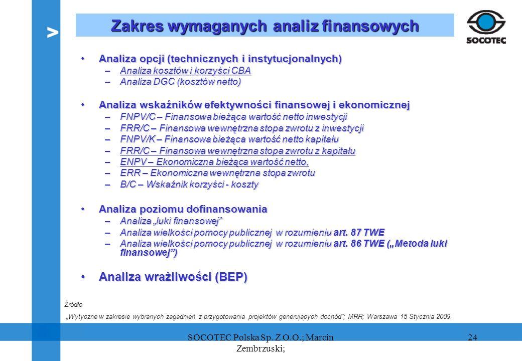 24 Zakres wymaganych analiz finansowych Analiza opcji (technicznych i instytucjonalnych)Analiza opcji (technicznych i instytucjonalnych) –Analiza kosz