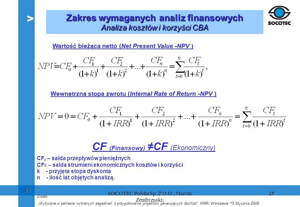 25 _25 Wartość bieżąca netto (Net Present Value -NPV ) CF F – salda przepływów pieniężnych CF E – salda strumieni ekonomicznych kosztów i korzyści k -