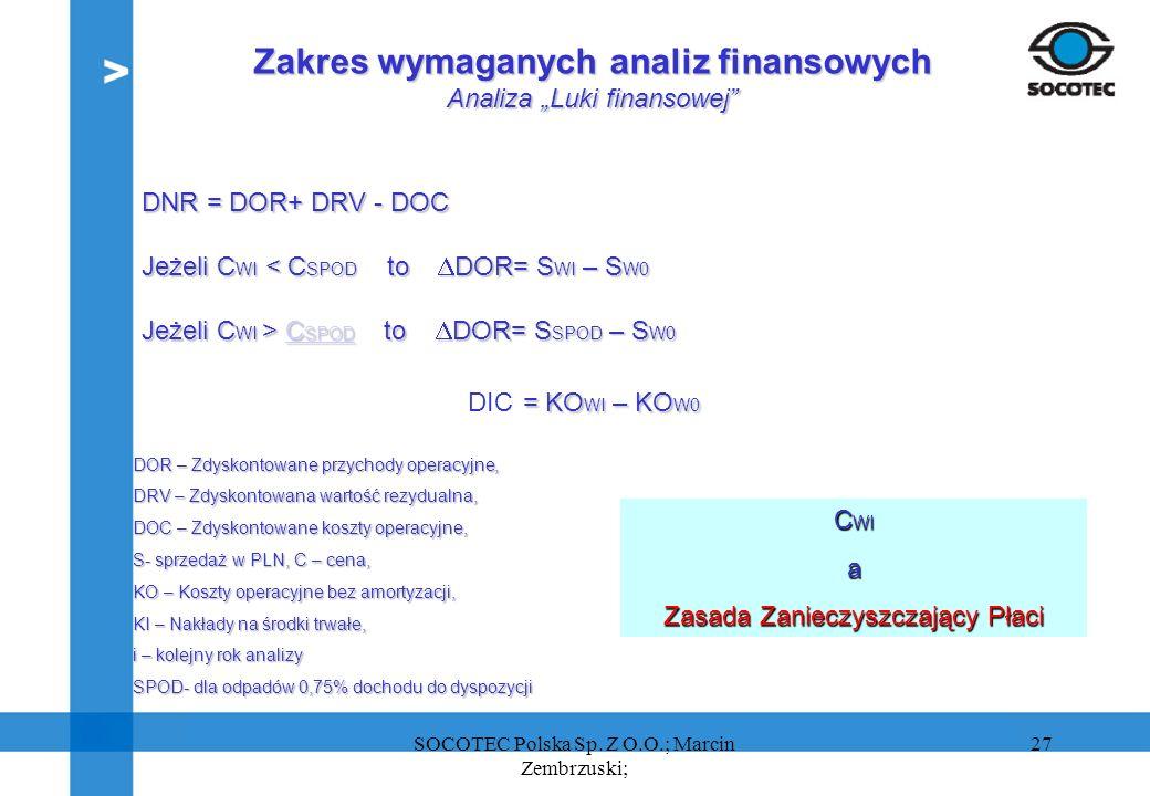 27 DOR – Zdyskontowane przychody operacyjne, DRV – Zdyskontowana wartość rezydualna, DOC – Zdyskontowane koszty operacyjne, S- sprzedaż w PLN, C – cen