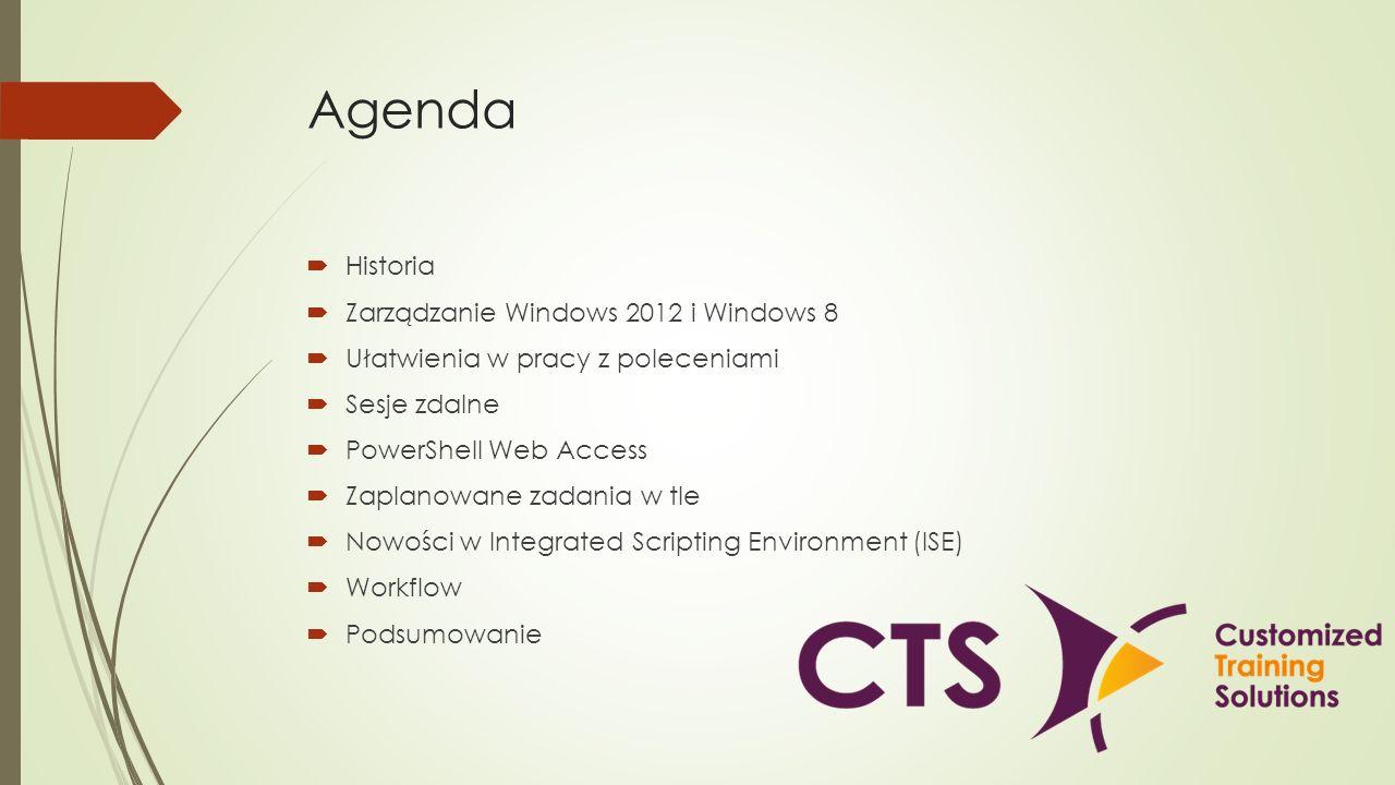 Agenda Historia Zarządzanie Windows 2012 i Windows 8 Ułatwienia w pracy z poleceniami Sesje zdalne PowerShell Web Access Zaplanowane zadania w tle Now