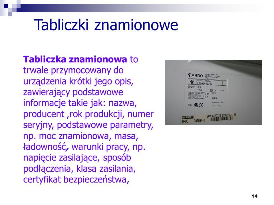 14 Tabliczki znamionowe Tabliczka znamionowa to trwale przymocowany do urządzenia krótki jego opis, zawierający podstawowe informacje takie jak: nazwa