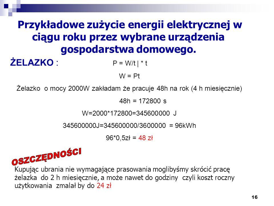 16 Przykładowe zużycie energii elektrycznej w ciągu roku przez wybrane urządzenia gospodarstwa domowego. ŻELAZKO : P = W/t | * t W = Pt Żelazko o mocy