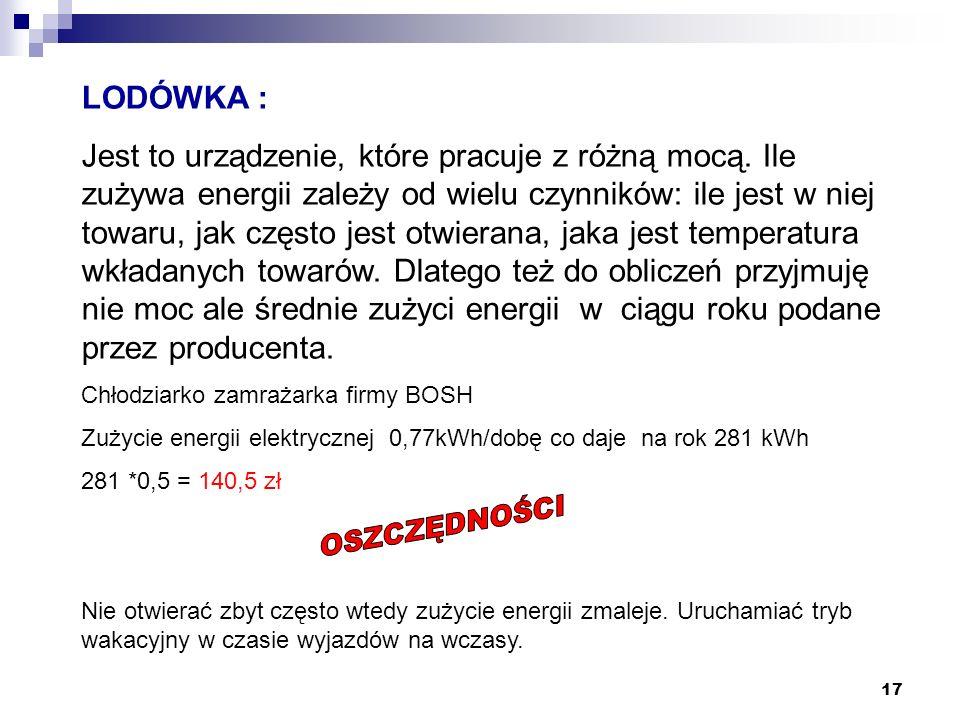 17 LODÓWKA : Jest to urządzenie, które pracuje z różną mocą. Ile zużywa energii zależy od wielu czynników: ile jest w niej towaru, jak często jest otw