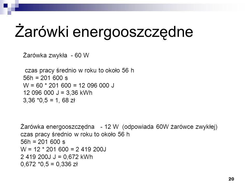 20 Żarówki energooszczędne Żarówka zwykła - 60 W czas pracy średnio w roku to około 56 h 56h = 201 600 s W = 60 * 201 600 = 12 096 000 J 12 096 000 J