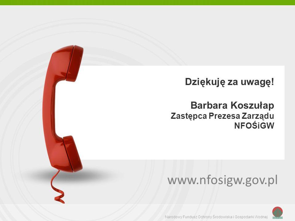 Narodowy Fundusz Ochrony Środowiska i Gospodarki Wodnej Dziękuję za uwagę! Barbara Koszułap Zastępca Prezesa Zarządu NFOŚiGW www.nfosigw.gov.pl