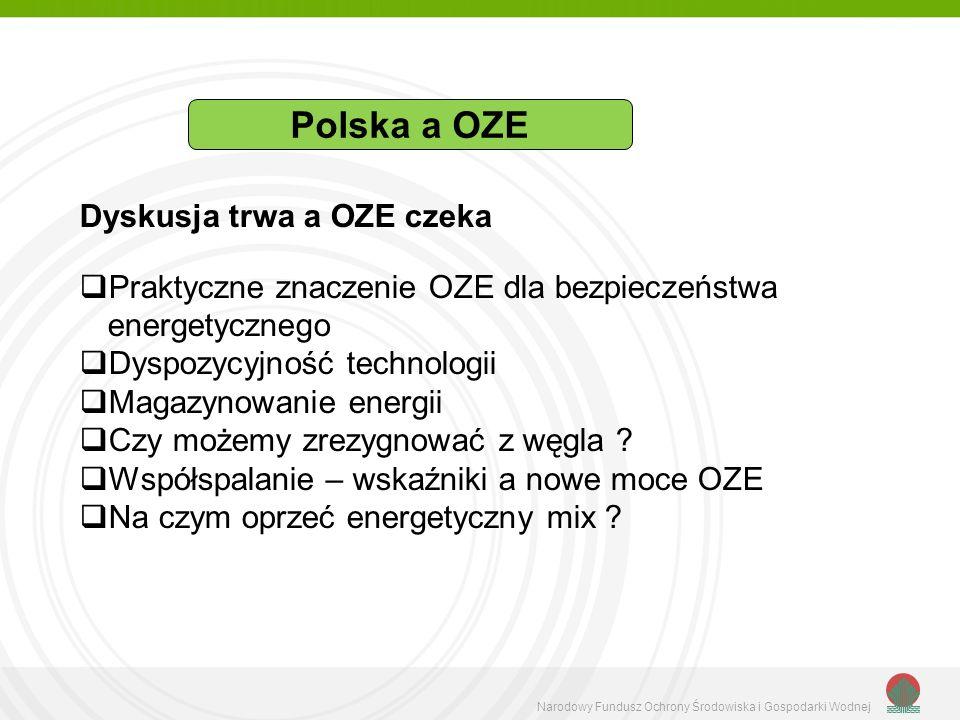 Narodowy Fundusz Ochrony Środowiska i Gospodarki Wodnej Dyskusja trwa a OZE czeka Praktyczne znaczenie OZE dla bezpieczeństwa energetycznego Dyspozycy
