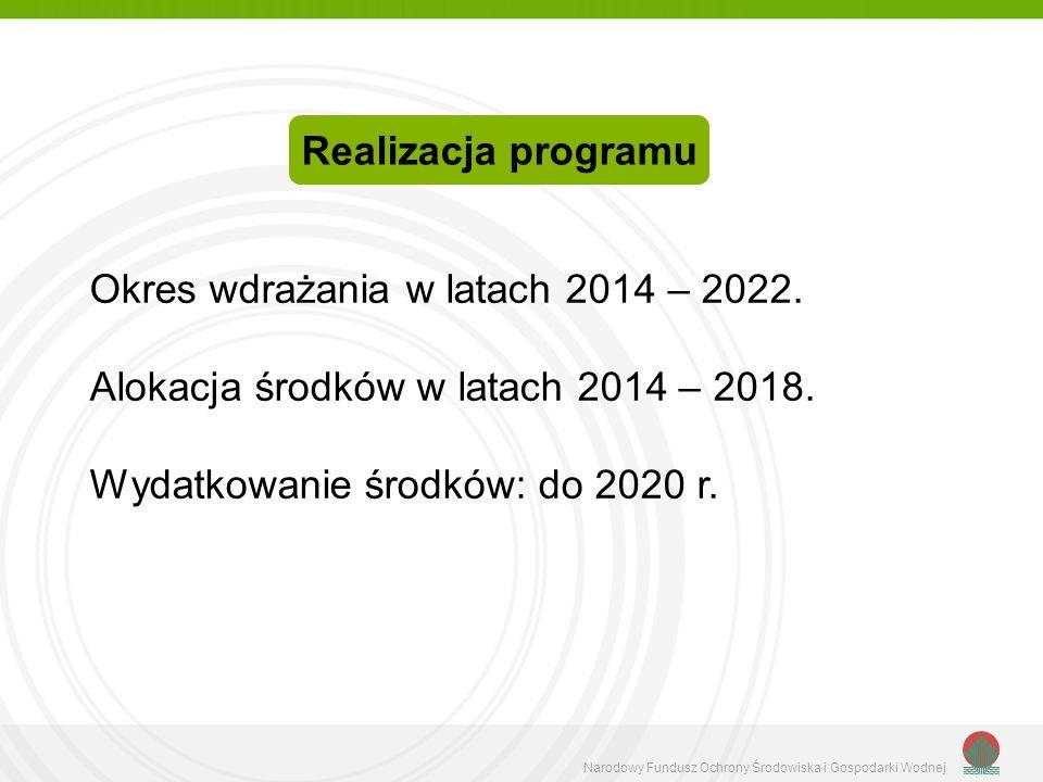 Narodowy Fundusz Ochrony Środowiska i Gospodarki Wodnej Okres wdrażania w latach 2014 – 2022. Alokacja środków w latach 2014 – 2018. Wydatkowanie środ