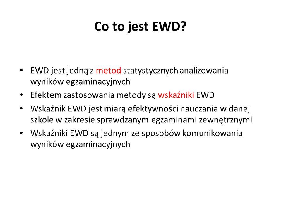 Co to jest EWD? EWD jest jedną z metod statystycznych analizowania wyników egzaminacyjnych Efektem zastosowania metody są wskaźniki EWD Wskaźnik EWD j