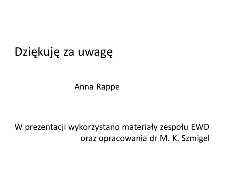 Dziękuję za uwagę Anna Rappe W prezentacji wykorzystano materiały zespołu EWD oraz opracowania dr M. K. Szmigel