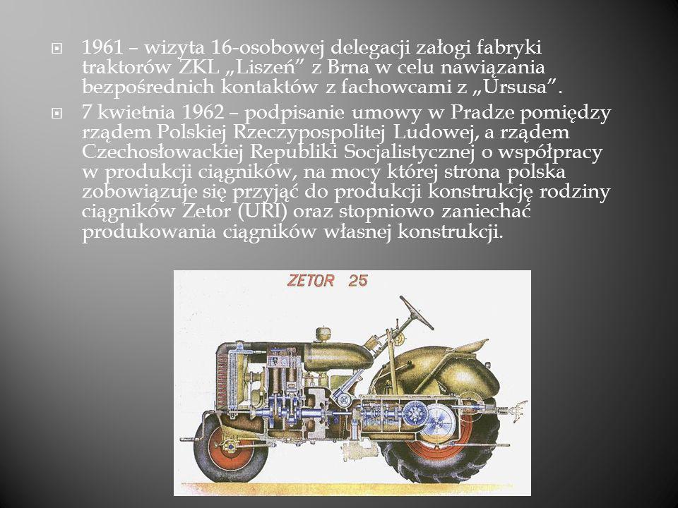 1961 – wizyta 16-osobowej delegacji załogi fabryki traktorów ZKL Liszeń z Brna w celu nawiązania bezpośrednich kontaktów z fachowcami z Ursusa. 7 kwie