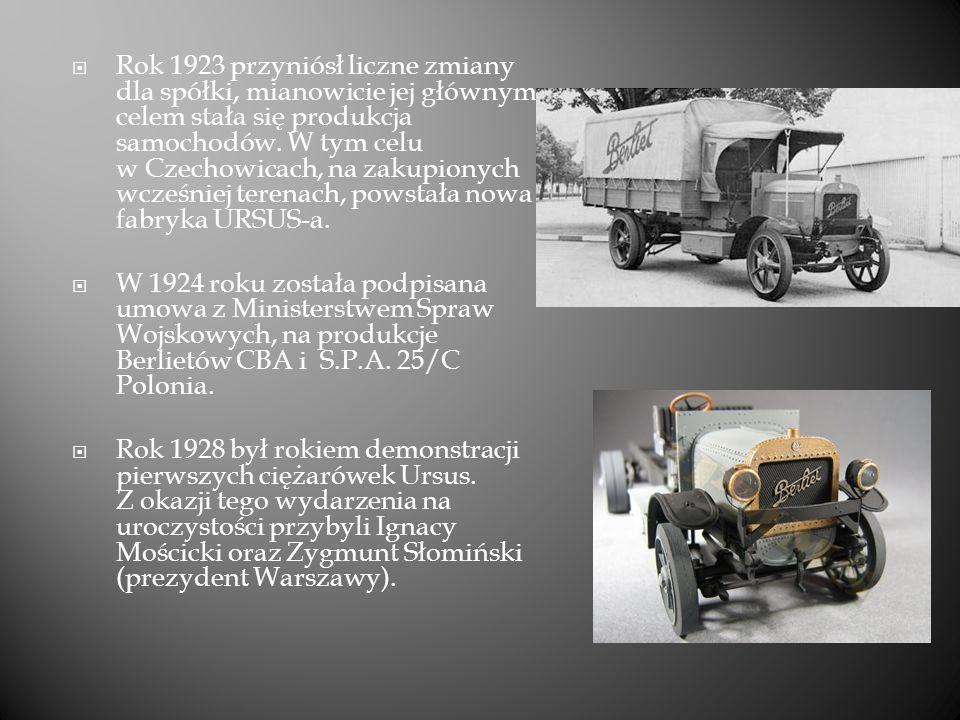 W roku 1929 fabrykę opuściło 300 samochodów ciężarowych i 50 autobusów Ursus A, które były produkowanych na licencji włoskiej firmy S.P.A.