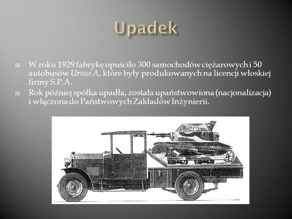 W roku 1929 fabrykę opuściło 300 samochodów ciężarowych i 50 autobusów Ursus A, które były produkowanych na licencji włoskiej firmy S.P.A. Rok później