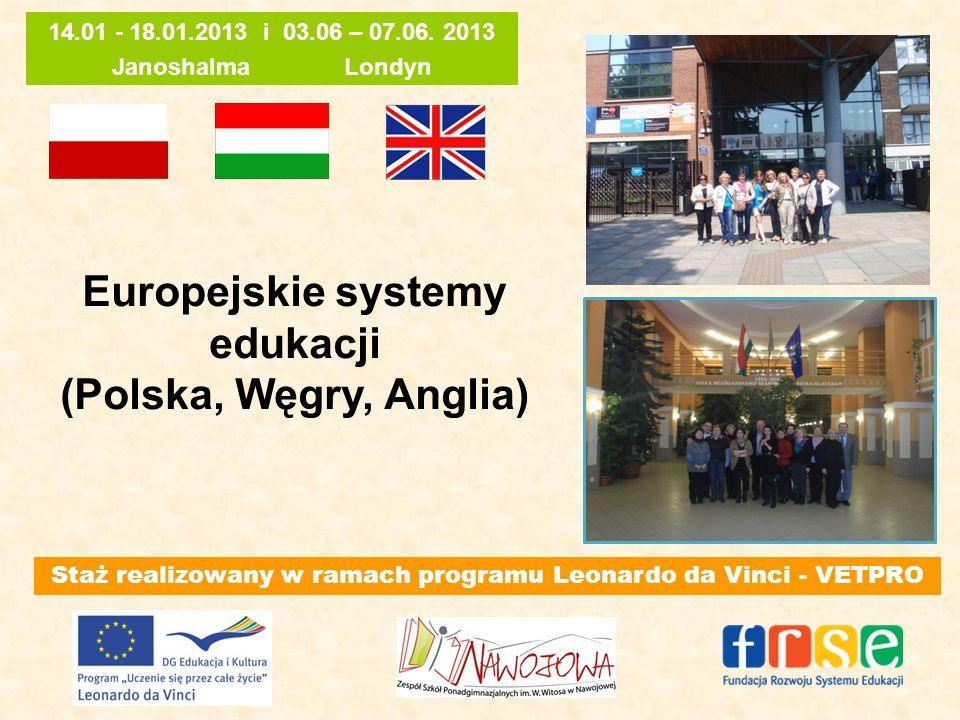 Europejskie systemy edukacji (Polska, Węgry, Anglia) Staż realizowany w ramach programu Leonardo da Vinci - VETPRO 14.01 - 18.01.2013 i 03.06 – 07.06.