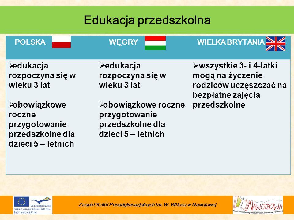 POLSKA WĘGRY WIELKA BRYTANIA edukacja rozpoczyna się w wieku 3 lat obowiązkowe roczne przygotowanie przedszkolne dla dzieci 5 – letnich edukacja rozpo