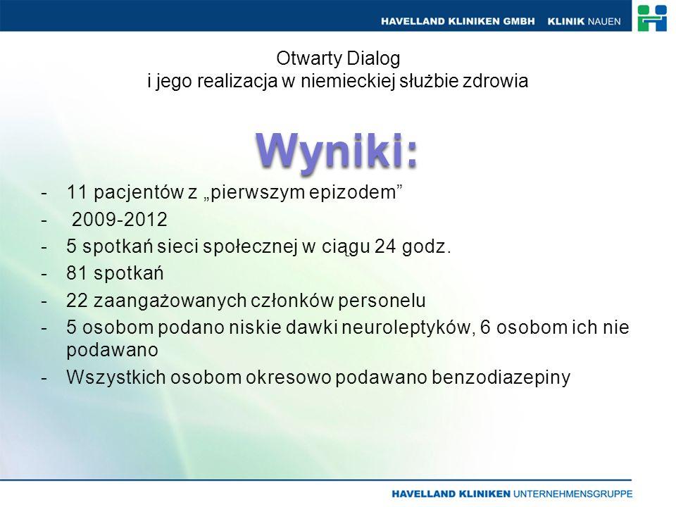 Wyniki: -11 pacjentów z pierwszym epizodem - 2009-2012 -5 spotkań sieci społecznej w ciągu 24 godz.
